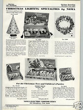 1937 PAPER AD Noma Christmas Tree Lights Mickey Mouse Cheer-O-Lite Bells Feather