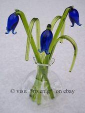 BLUEBELLS@grass@VASE@BUNCH OF Flowers@Glass GIFT Set@Permanent buds arrangement
