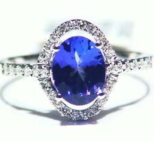 1.82CT 14K Gold Natural Tanzanite Diamond Vintage AAA Wedding Engagement Ring