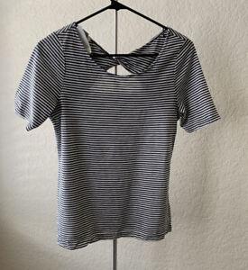 Old Navy Short Sleeve Shirt Women Striped Black White S Open Back 3/4 Sleeve