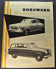 1958 Borgward Isabella Sales Brochure Sheet TS Coupe Combi Wagon Nice Original