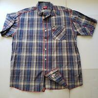 Slim Shady LTD Eminem Checkered Plaid Button Up Shirt Blue Men's XL Hip Hop
