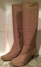 Max Azria Lexy Knee High Boots Leather Canvas Heels ( BCBG ) Taupe 39/8.5 Nice