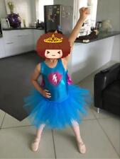 Girls Dancing Costume Super Girl Sparkling Glitter Dress Tutu W Cape Worn Once
