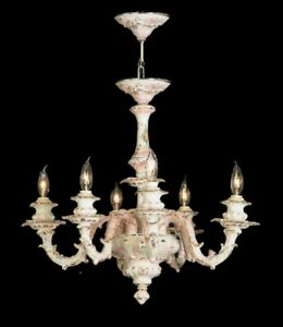 Capodimonte Made in Italy Chandelier 6 Light Mother of Pearl Finish (New)