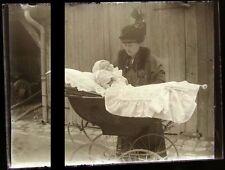 PLAQUE VERRE PHOTO NEGATIF circa.1914 MERE ET FILS mother & son  (B27)