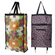 Portable Wheeled Carrier Rolling Grocery Shopping Travel Cart Nylon Foldable Bag