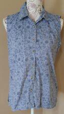Cabin Creek womens top size medium button up sleeveless blue floral