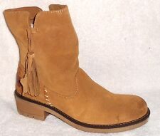 NEW COOLWAY PAVIA TAN SUEDE SHORT BOOTS WITH TASSEL 8.5 M, EU 39