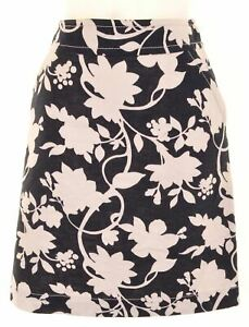 BANANA REPUBLIC Womens A-Line Skirt W28 L20 Black Floral Linen  LB09
