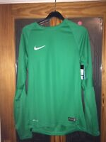 Mens Size Small Green Nike Dri Fit Football Long Sleeved Training Top BNWT