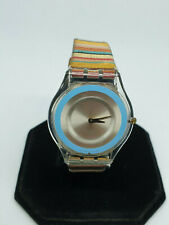 ladies retro swatch watch ag 2001 v8,silver & blue face,multi-coloured strap.#b1