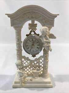 Resin/Ceramic Clock With Cherubs Roses Pergola