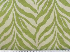 Drapery Upholstery Fabric Chenille Jacquard Animal Zebra Stripes - Lime / Ivory