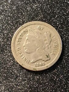 1865 3-Cent Nickel, rare type coin