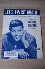CHUBBY CHECKER LET'S TWIST AGAIN LP SONG SHEET