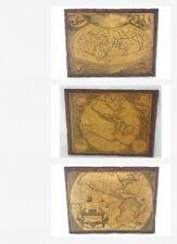 OLD WORLD MAPS Set of 4 Plaques Printed on Wood Vintage Art Office Den RARE
