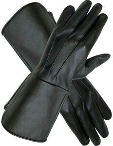 Men's Leather Long Cuff  Larp Gauntlets Medieval Renaissance Cosplay Theatre