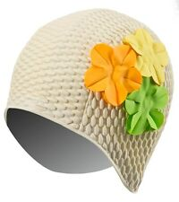 New Vintage Style Swim Bathing Cap Beige Floral MultiColor Flowers Aerobics