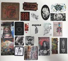 20 Assorted Unusual Size And Material Tattoo Business Cards