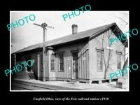 OLD LARGE HISTORIC PHOTO OF CANFIELD OHIO, THE ERIE RAILROAD STATION c1910