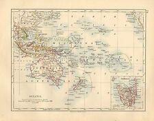 1897 Vittoriano mappa ~ Oceania ~ Polinesia Australia filippino INSET TASMANIA