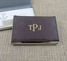 Business Card Holder- Brown Leather- Gifts for Men Office Gift (37BRN)