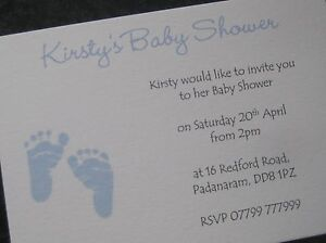 Personalised Baby Shower Invitations /Thank You Cards Boy/Girl/Unisex-Baby Feet