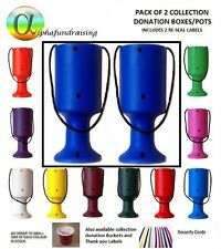 PACK OF 2 HANDHELD CHARITY DONATION COLLECTION MONEY TINS/ BOXES/POTS