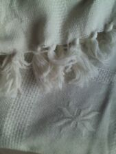 Coperta matrimoniale degli anni '50 bianca in pura lana - AFFARE! /Blanket