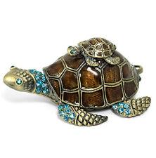 Turtle Jewelry Box Trinket Case  Crystals Ceramics Animal Gift Storage Organizer