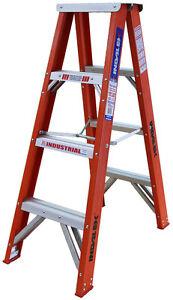INDALEX Tradesman Fibreglass Double Sided Step Ladder 5ft 1.5m