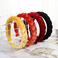 Women's Velvet Headband Twist Hairband Braided Knot Tie Hair Hoop Accessories