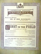 More details for 1883 theatre royal haymarket first in the field  mr alfred bishop miss tilbury