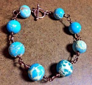 "Large Sky Blue Imperial Jasper Wire Wrap Pure Copper TOGGLE Bracelet 9.25"""