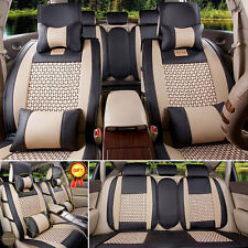 US 5 Seats Car Seat Cover Front+Rear Cushion PU Leather+Cooling Mesh W/Pillows