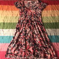 Sparrow Anthropologie Pink Black Tie Dye Midnight Safari Sweater Dress Sz S A668
