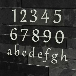 Edle Design Hausnummer - Edelstahl Klassisch 20 30 cm RAL 9003 signal-weiss weiß