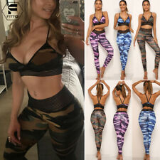 Sexy Women Camouflage Yoga Suit Tank Top Pants Tracksuit Set Sports Bra Leggings