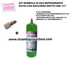 "KIT GAS REFRIGERANTE R410A-BOMBOLA KG.2,5 (NETTO GR.1900) CON RACCORDO SAE 1/4"""