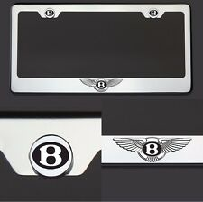 One Bentley Logo Black Laser Engraved Stainless Steel License Plate Frame Chrome