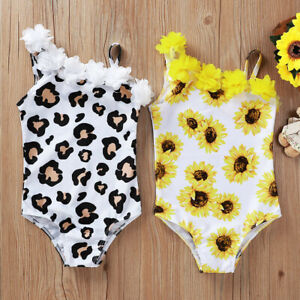 Toddler Kids Baby Girls One Piece Bikini Floral Leopard Swimsuit Bath Beachwear
