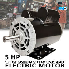 "5HP Air Compressor Duty Electric Motor 22Amp 3450 RPM 56 Frame 7/8"" Shaft 230V"