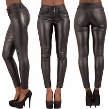 WOMEN HIGH WAIST BLACK LEATHER LOOK JEANS SLIM FIT TROUSERS SIZE 6 8 10 12 14