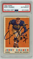 1959 PACKERS Jerry Kramer signed ROOKIE card Topps #116 PSA/DNA Slab AUTO RC