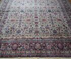 """ANTIQUE KERMANN HAND KNOTTED WOOL ORIENTAL RUG CLEANED EXCELLENT 10' x 13'7"""""""