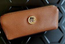 Ralph Lauren Genuine Leather Cosmetic Bag Handbag Sunglasses Case Brown NWT