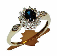 Fully Hallmarked 9ct Yellow Gold, Sapphire & Diamond Cluster Ring - UK Size: L
