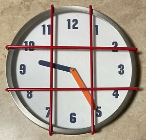 """Analog 12"""" Gymnasium Style Clock w/Red Grill Protection Battery Powered"""