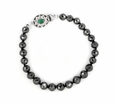 Black Diamond Faceted Beads Bracelet with Sterling Silver AAA Quality 5 mm
